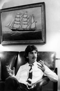 Portrait of George Harrison in his office London 1982 during an interview