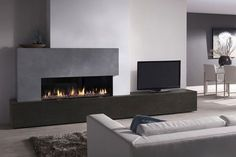 Dru Metro 130 Xt Slim Line Ii Gashaard - 't Stokertje Living Room Tv, Living Room With Fireplace, Home And Living, Wall Gas Fires, Contemporary Fireplace Designs, Fireplace Tv Wall, Fireplace Modern, Modern Electric Fireplace, Linear Fireplace