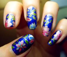 Midnight Blue Floral nail foil transfer over Color Club Cloud Nine holographic polish. Click the image for more!