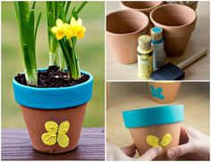 Butterfly birthday party activities DIY butterfly pots