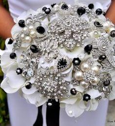 Antique silver and black button bouquet