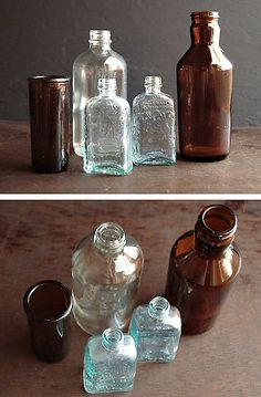 antique rustic glass bottles