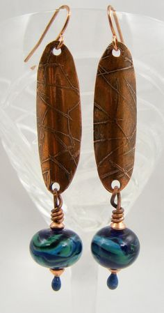 Copper earrings with blue and green lampwork bead dangles: Sweet Freedom Designs