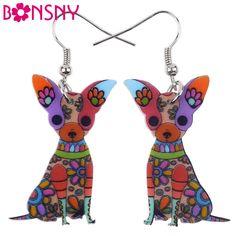 Bonsny Fashion Big Long Animal Acrylic Dangle Drop Chihuahua Dog Earrings 2016 News Style Fashion Jewelry For Girls Women