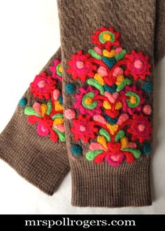 Click here to DIY Charming Needle Felted Wristlets.  They only LOOK complicated but they are NOT with step by step photos of every color and motif.  You CAN make these!  A definite as gifts!  From MrsPollyRogers.com