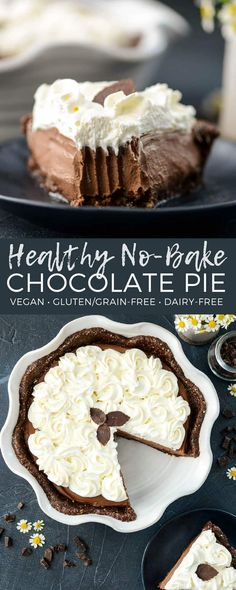 This no-bake Healthy Vegan Chocolate Pie recipe is lusciously creamy and intensely chocolatey! It's like French Silk Pie only better for you! It's gluten-free, dairy-free, and vegan with a refined sugar free option! The perfect dessert for Thanksgiving! #vegan #glutenfree #grainfree #chocolate #pie #vitamix #nobake #healthy #recipe #dessert via @joyfoodsunshine
