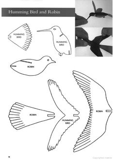 Templates (patterns) for bench jig Bird Paper Craft, Paper Birds, Bird Crafts, Cardboard Crafts, Paper Crafts, 3d Zeichenstift, 3d Pen Stencils, Stylo 3d, Scroll Saw Patterns Free