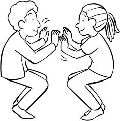 Two people squatting on the balls of their toes facing each other in a fun partner energiser called Squat Thrust