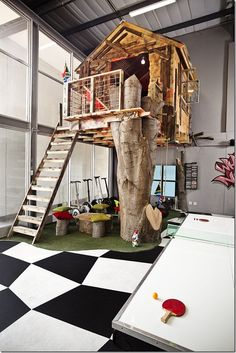 Have you ever been to an office with a slide, a firepole, a shooting range, and a treehouse? Probably not. But for Missing Link, a presentation and conference organizing company based in South Africa, those features are the reality. The goal of the design was to create a place where employees want to work - and clients want to visit.