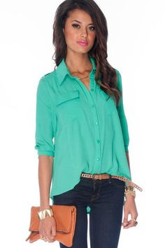 All Work Button Down Blouse in Jade