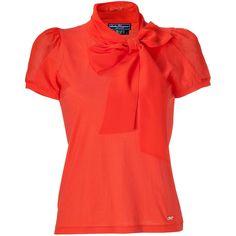 SALVATORE FERRAGAMO Lava Cotton/Silk Tie Neck Top ($390) ❤ liked on Polyvore