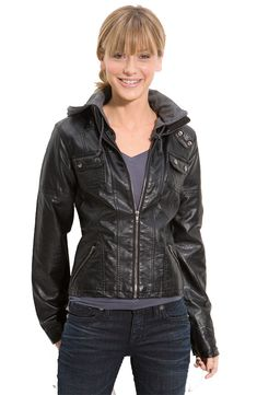 Thread & Supply Seamed Faux Leather Jacket With Hood (Juniors) Leather Jacket With Hood, Biker Leather, Faux Leather Jackets, Real Leather, Cowhide Leather, Hooded Sweatshirts, Hoodies, Jacket Style, Hoodie Jacket