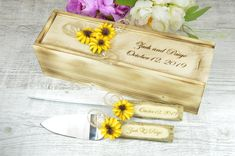 Wedding Knife Set, Wedding Cake Knife And Server Set, Themed Wedding Cakes, Wedding Cake Toppers, Wedding Keepsakes, Wedding Gifts, Fall Wedding, Sunflower Cakes, Sunflower Wedding Invitations