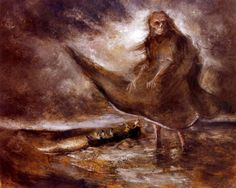 Artists Alfred Kubin, is considered an important representative of symbolism and expressionism and is noted for dark, spectral, symbolic fantasies. The Water Ghost is one of such works, depicting torment and impending doom at sea.