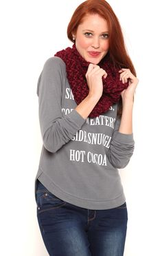 Deb Shops High Low Long Sleeve Hacci Top with Snow Angels Screen $12.00