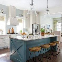 Supreme Kitchen Remodeling Choosing Your New Kitchen Countertops Ideas. Mind Blowing Kitchen Remodeling Choosing Your New Kitchen Countertops Ideas. Kitchen Paint, Kitchen Redo, New Kitchen, Vintage Kitchen, Kitchen Bars, Blue Kitchen Ideas, Teal Kitchen Walls, Teal Kitchen Cabinets, Kitchen Island Makeover