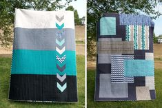 A visually impressive modern quilt. But I must say I prefer the Chevron back to the patchwork front!  No instructions here though.