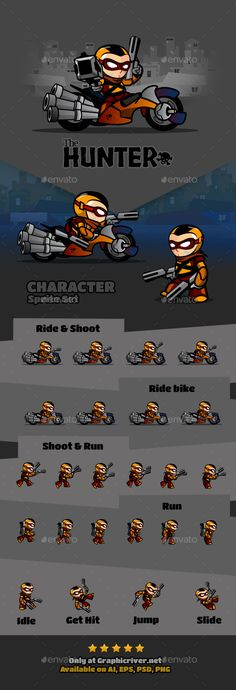 The Hunter Character - Sprites #Game #Assets | Download http://graphicriver.net/item/the-hunter-character/9871559?ref=sinzo