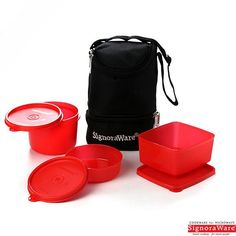 Signoraware Trio Lunch Box With Insulated Bag, Red
