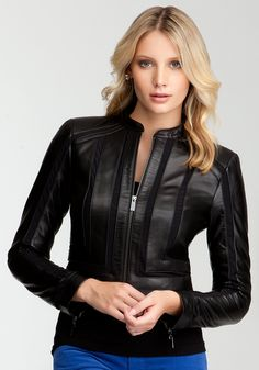 bebe | Leather & Mesh Moto Jacket - View All