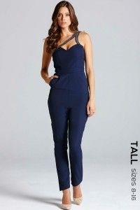 Little Mistress Navy One Shoulder Cut-Out Jumpsuit - Little Mistress from Little Mistress UK Stylish Outfits, Fashion Outfits, One Shoulder Jumpsuit, Tall Clothing, Shoulder Cut, Petite Outfits, Fashion Line, Womens Fashion Online, Jumpsuits For Women