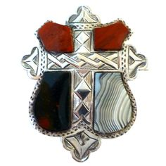 Large Victorian Sterling Silver Scottish Agate Brooch