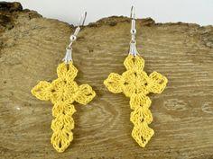 Cross Dangle Earrings Cross Earrings Crochet by SandyCraftUK