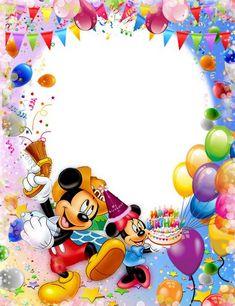 Happy Birthday Mickey Mouse, Happy Birthday Frame, Mickey Mouse Birthday Invitations, Happy Birthday Photos, Birthday Frames, Birthday Greetings, Birthday Wishes, Birthday Cards, Mickey Mouse Images