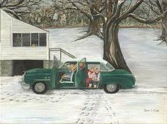 Farm Christmas Art - Christmas Past  by Linda Clark