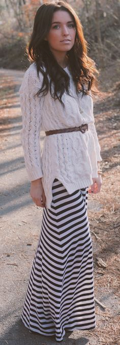 belted cable knit and a maxi