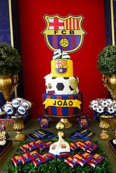 Be Happy - Festas Infantis Bolo Do Barcelona, Barcelona Soccer Party, Barcelona Football, Soccer Birthday Parties, Birthday Party Decorations, Party Themes, 9th Birthday Cake, Boy Birthday, Gaston