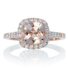 14K Rose Gold Cushion Cut Morganite Diamond Engagement Ring Halo Engagement Bridal Wedding Anniversary Ring