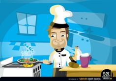 Chef character with delicious curry Free Vector