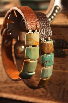 Turquoise and leather bracelet - Leather Jewelry Leather Cuffs, Leather Jewelry, Leather Cord, Beaded Jewelry, Jewelry Bracelets, Handmade Jewelry, Leather Bracelets, Brown Leather, Geek Jewelry