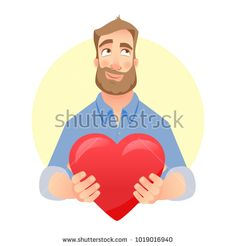Man gives heart. Present for Valentine's Day. Stock photography, images, pictures, Illustrations, ideas. Download vector illustrations and photos on Shutterstock, Istockphoto, Fotolia, Adobe, Dreamstime