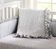 Ruffle Collection Nursery Bedding #pbkids Pink and gray baby bedding set