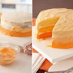 The eye-catching trend of ombre has spread from fashion to desserts. In this ombre cake, the cake layers as well as the frosting are tinted in gradations of orange. It's a perfect cake for all sorts of celebrations.