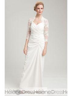 Superior Sheath/Column Sweetheart 3/4-Length Sleeves Sweep Train Pleats Wedding Dresses
