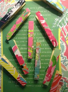 Love these adorable clothespins. A great way to reuse your old Lilly Pulitzer agendas.