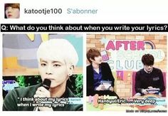 I'm with Jonghyun, what kind of question was that? Seriously guys, up your game already.