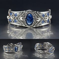 This Lazulite cab is a beautiful denim blue.  I wove a bracelet for it in sterling silver. -Lisa Barth