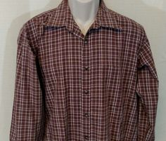 YVES SAINT LAURENT Casual Shirt Men Size L Button Up Plaid Purple Brown Long Slv #YvesSaintLaurent #ButtonFront