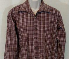 YVES SAINT LAURENT Casual Shirt Men Size L Button Up Plaid Purple Brown Long Slv #YvesSaintLaurent #ButtonFront