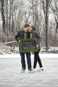 Love on Ice: Skating Engagement Photos, Winter Engagement, Save the Date, Photo Credit: Ashlea MacAulay Photography