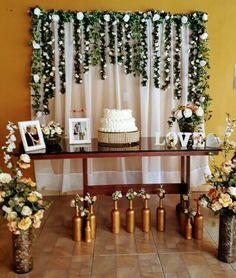 Mesa do bolo noivado da Areli