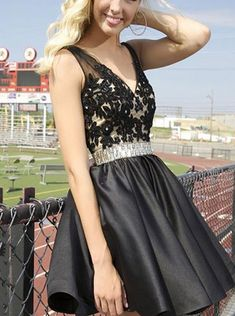 A-line V-neck Satin Backless Beaded Short Lace Black Prom Homecoming Dress