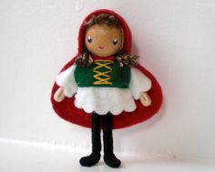 Little Red Riding Hood Bendy Doll by Princess Nimble-Thimble, Waldorf Felt Doll, Classic Storybook Character, Creative Play, Nature Table