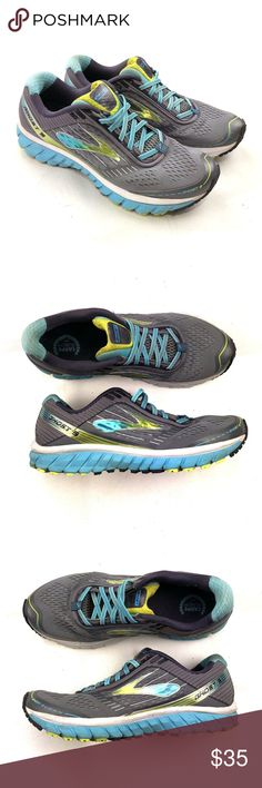 online store 6d050 a2bb2 Brooks Ghost 9 Womens Running Shoes Grey Blue Grn Brooks Ghost 9 Womens  Running Shoes 1202251B151