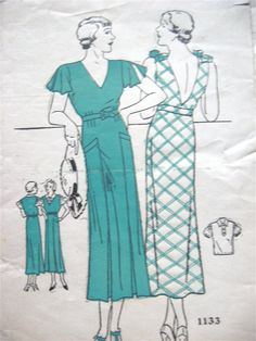 Early 1930s dress with blouse pattern 1133.  Bust 32 by Fancywork