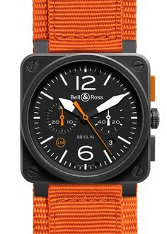 """Bell Ross BR 03-94 Carbon Orange Watch - by Patrick Kansa - Read more and see it on a rubber strap too on aBlogtoWatch.com """"When you hear the name Bell Ross, if you're like me, you have a particular mental picture that comes to mind - a square case that calls to mind the very aviation instruments they're intended to reference. For 2014, Bell Ross is introducing a new model to their Aviation collection that relies not just on the shape, but also the color scheme..."""""""